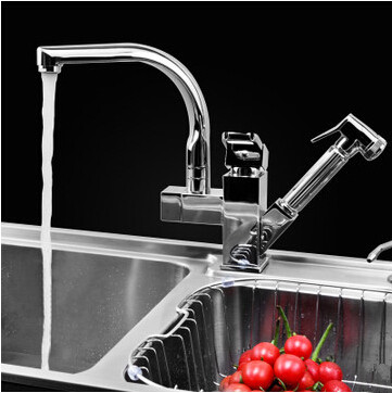 Chrome Two Handles Pull Out Mixer Centerset Kitchen Tap T0790E