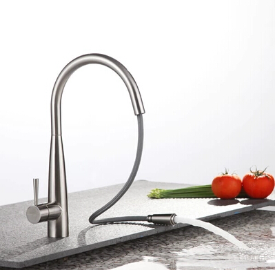 Contemporary Single Handle Brass Mixed Pull-out Kitchen Tap TN0823