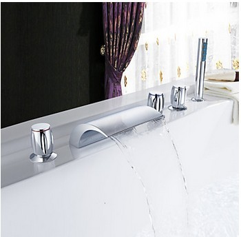 Chrome Three Handles Waterfall Widespread Tub Tap T001-19