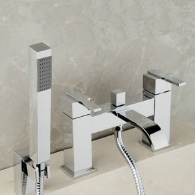 Contemporary Double Handles Bridge Solid Brass Tub Tap with Hand Shower T0215