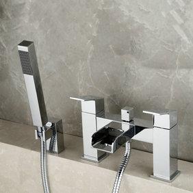 Contemporary Optimus Solid Brass Waterfall Bath Shower