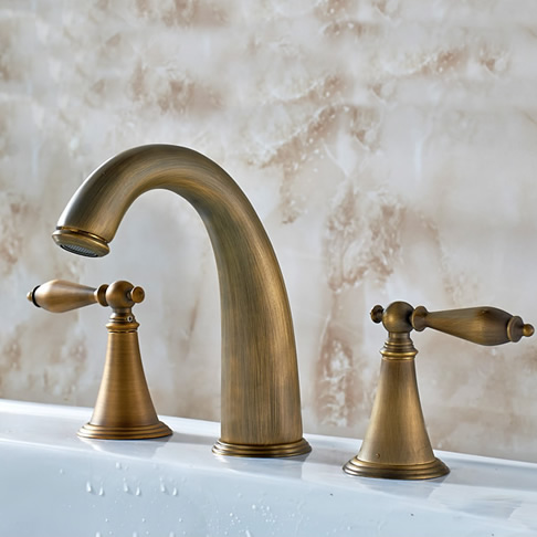 Antique Brass Finish Widespread Bathroom Sink Tap T0453A
