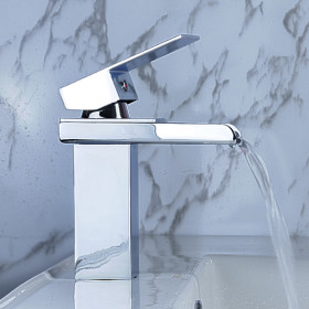 Contemporary Single Handle Chrome Waterfall Bathroom Sink Tap - T0510