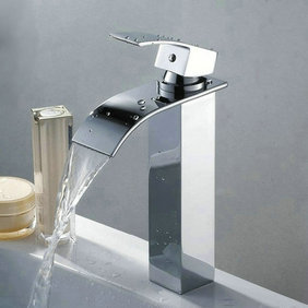 Contemporary Brass Waterfall Bathroom Sink Tap Tall