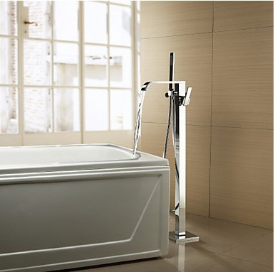 Solid Brass Floor Standing Tub Tap with Hand Shower Chrome Finish TP0718FS