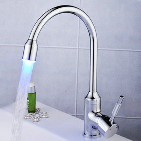 Contemporary Single Handle LED Chrome Kitchen Tap - T0756F