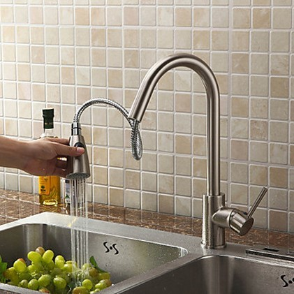 Pull Out Solid Brass Kitchen Tap - Nickel Brushed Finish T0759