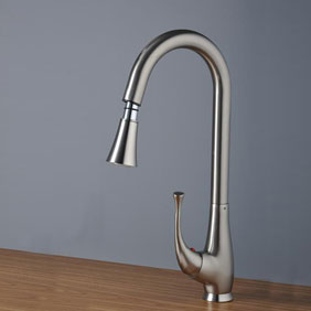 Nickel Brushed Single Handle Centerset Kitchen Tap (T0760S)
