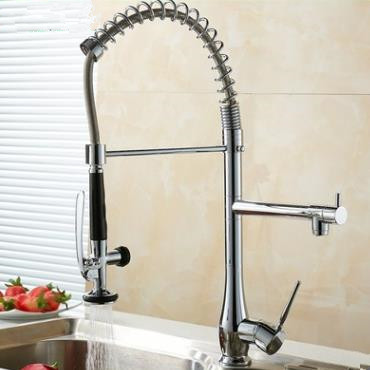 Solid Brass Spring Kitchen Tap with Two Spouts (Chrome Finish) T0783-2