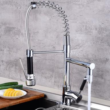 Contemporary Solid Brass Single Handle Spring Kitchen Tap with Two Spouts - T0783