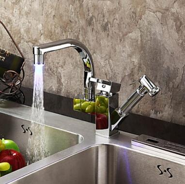 Contemporary Color Changing LED Pull Out KitchenTap-Chrome Finish T0790F