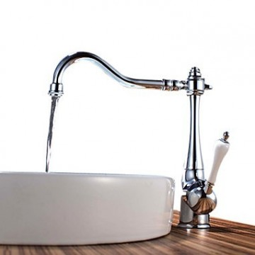 Chrome Finish Brass White Handle Kitchen Tap T0797