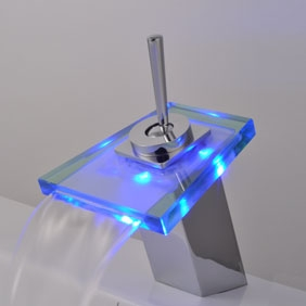 Contemporary Single Handle Waterfall LED Chrome Bathroom Sink Tap - T0804-1F