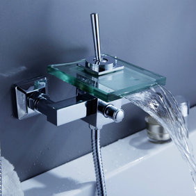 Contemporary Single Handle Wall-mount Waterfall Glass Bathtub Tap - T0815-1W