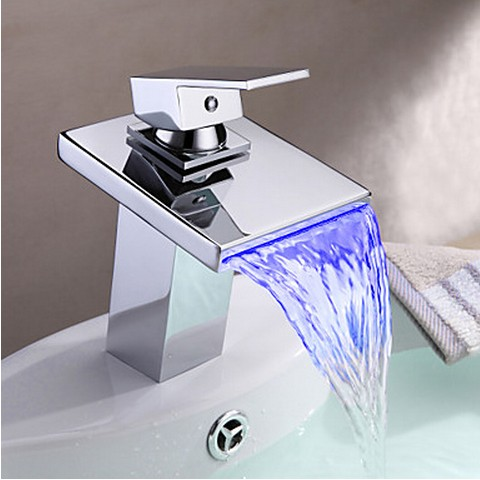 Contemporary Thermochromic Multi-color LED Stainless Steel Spout Bathroom Sink Faucet T0815BF