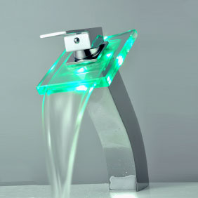 Contemporary Single Handle Waterfall LED Chrome Bathroom Sink Tap - T0815HF