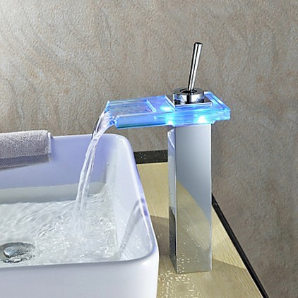 Waterfall Color Changing LED Bathroom Sink Tap Tall T0818-1HF