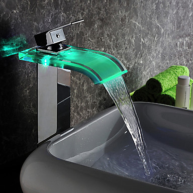 Contemporary LED Waterfall Glass Tall Bathroom Sink Tap - T0822HF