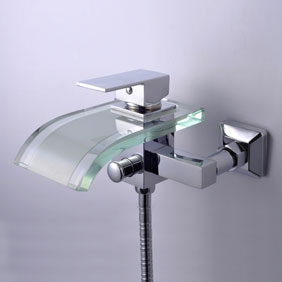 Single Handle Waterfall Wall-Mount Chrome Glass Bathtub Tap (T0822W)