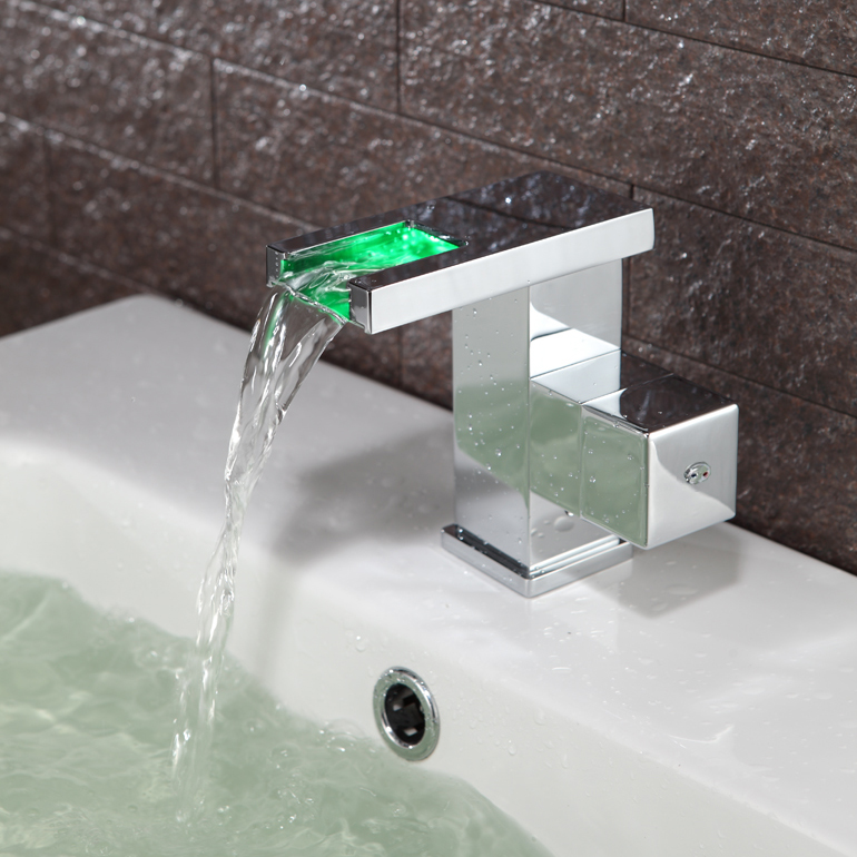 Contemporary Color Changing LED Bathroom Sink Tap - T0828F