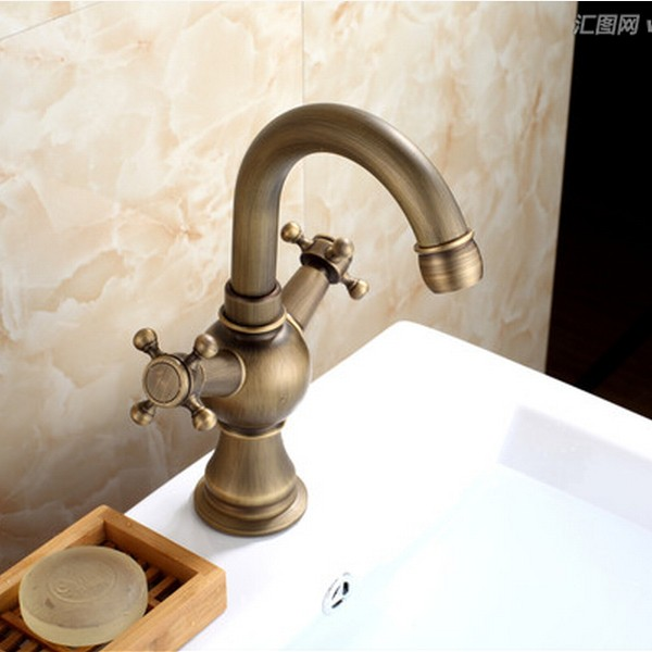 Antique Brass One Hole Two Handles Bathroom Sink Tap T1808M