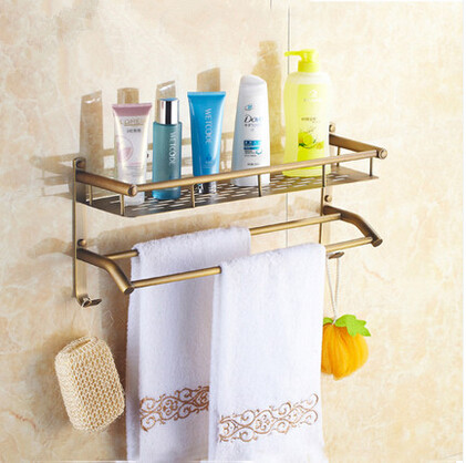 Antique Brass Bathroom Dual-use Shelves & Towel Bar TA131C