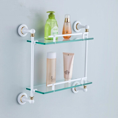white porcelain bathroom shelf brass roasted white porcelain with tempered glass 21581
