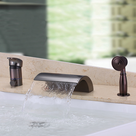 Waterfall Design Antique Oil-rubbed Bronze Bathtub Tap With Hand Shower T3001OR