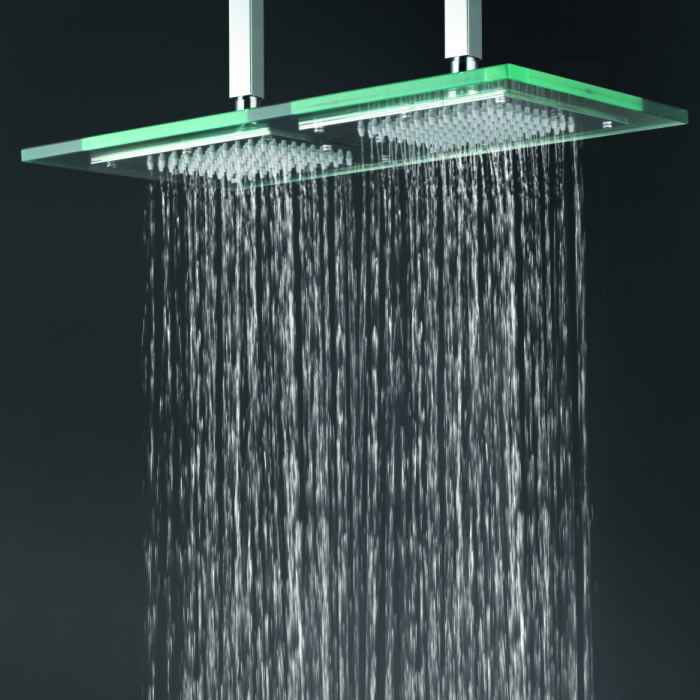 Contemporary 9 Inch 18 Inch Glass Square Led Rainfall Shower Head