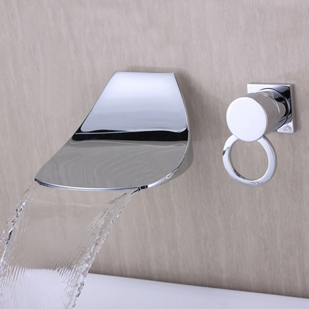 Contemporary Widespread Waterfall Bathroom Sink Tap (Chrome) T6034