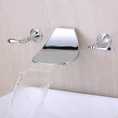 Contemporary Widespread Waterfall Bathroom Sink Tap (Chrome) T6036