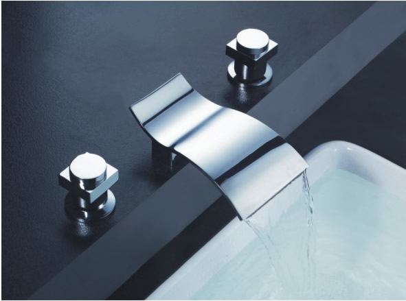 Contemporary Waterfall Bathroom Sink Tap (Chrome Finish, Widespread) TP7709C