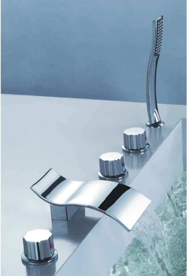 Contemporary Two Handles Three Holes Waterfall Tub Tap with Hand Shower - T7709W