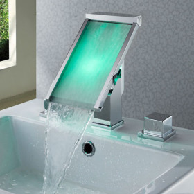 Contemporary Color Changing LED Waterfall Widespread Bathroom Sink Tap - T8002-1