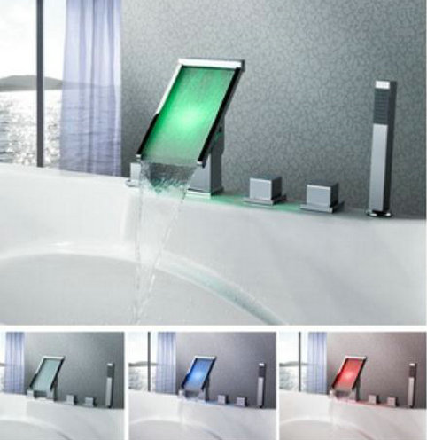 Contemporary Color Changing LED Waterfall Widespread Bathtub Tap - T8002-4
