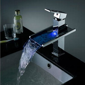 Contemporary Color Changing LED Pop up Waste Waterfall Bathroom Sink Tap - T8004B