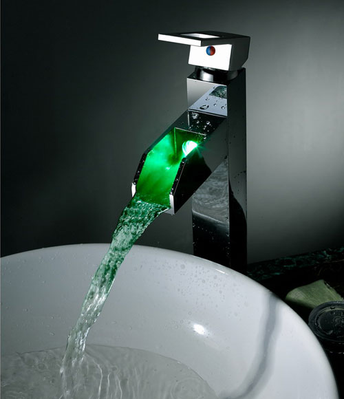 Contemporary color changing led waterfall bathroom sink for Robinet salle de bain led
