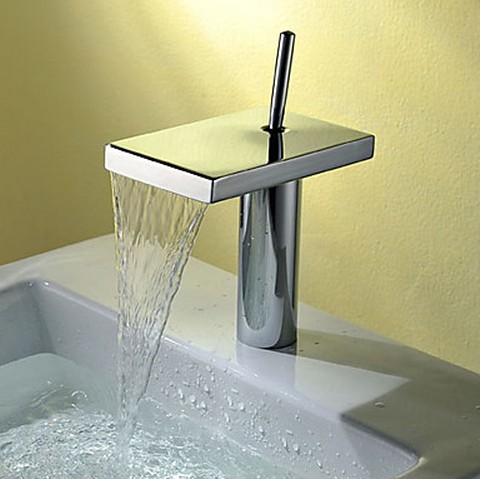 Contemporary Single Handle Waterfall Bathroom Sink Faucet Chrome Finish T8026