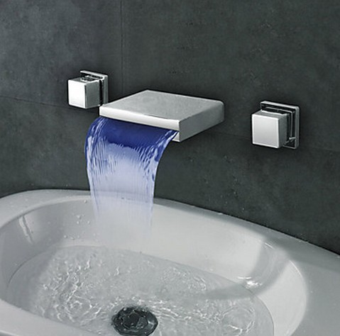 ... Waterfall 3 Colors LED Bathroom Sink Tap T8041 [T8041] - £118.99