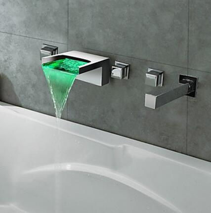 Thermochromic chrome finish led waterfall bathroom tub tap for Robinet salle de bain cascade led