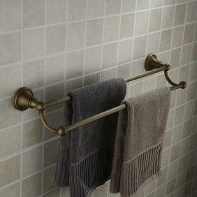 Antique Brass Finish Wall-mounted Double Towel Bar TAB1003