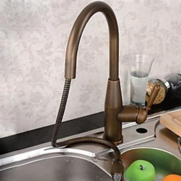 Antique Brass Finish Pull Out One Hole One Handle Kitchen Tap AQ9406