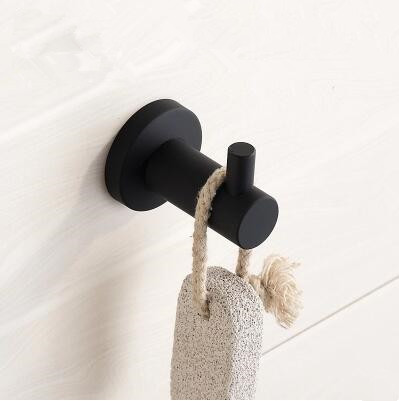 Black Featured Rubber Paint Bathroom Accessory Robe Hook BG045R