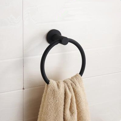 Black Featured Rubber Paint Bathroom Accessory Round Towel Ring BG068R