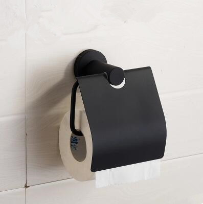 Black Featured Rubber Paint Bathroom Accessory Toilet Roll Holder BG069R