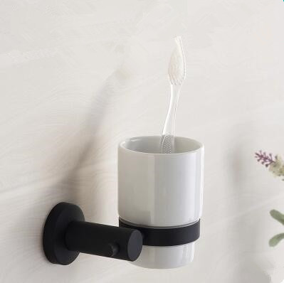 Black Featured Rubber Paint Bathroom Accessory Tooth Brush Holder BG080R
