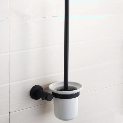 Black Featured Rubber Paint Bathroom Accessory Toilet Brush Holder BG089R