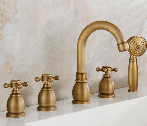 Antique Brass Five-pieces Widespread Tub Tap with Hand Shower BT0328