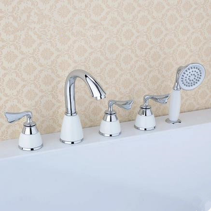 New Brass Chrome Finished Widespread Tub Tap with Hand Shower BT0338