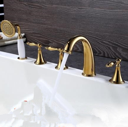 Antique Classic Golden Printed Luxury Widespread Tub Tap with Hand Shower BT0678